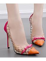 Недорогие -Для женщин Обувь Полиуретан Весна Осень Удобная обувь Обувь на каблуках На шпильке для Повседневные Черный Оранжевый Синий