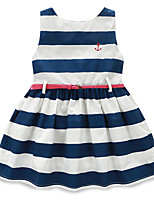 Girl's Holiday Striped Dress,Cotton Summer Sleeveless Cute Blue