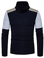 cheap -Men's Daily Casual Regular Pullover,Color Block Turtleneck Long Sleeves Polyester Spandex Winter Fall Thick Micro-elastic