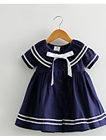 Girl's Holiday Solid Dress,Cotton Summer Short Sleeves Cute White Navy Blue
