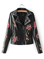 cheap -Women's Daily Street chic Winter Fall Leather Jacket,Print Shirt Collar Long Sleeve Short PU