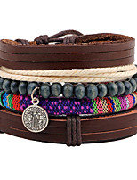 cheap -Men's Women's Strand Bracelet Wrap Bracelet Fashion Colorful Ethnic Wooden Hemp Rope Leather Circle Line Jewelry Gift Carnival