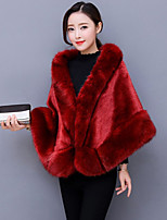 cheap -Women's Going out Party/Cocktail Vintage Winter Fur Coat,Solid Shirt Collar Sleeveless Short Faux Fur Fur Trim