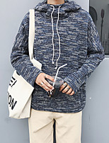 Men's Casual/Daily Hoodie Striped Hooded Micro-elastic Cotton Long Sleeve Fall