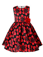 cheap -Girl's Going out Casual/Daily Solid Floral Flower/Floral Dress,Cotton Polyester Spring, Fall, Winter, Summer All Seasons Sleeveless