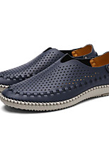 cheap -Men's Shoes Cowhide Spring Fall Comfort Loafers & Slip-Ons for Casual Light Brown Light Grey Dark Blue
