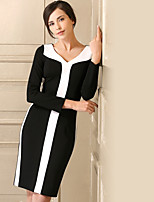 cheap -BAOYAN Women's Party Simple Sheath Dress,Color Block V Neck Knee-length Long Sleeve Polyester Fall Mid Rise Micro-elastic Thick