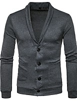 cheap -Men's Daily Casual Regular Cardigan,Solid Shirt Collar Long Sleeves Polyester Spandex Winter Thick Micro-elastic