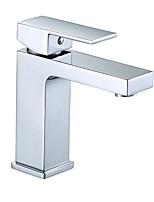 Недорогие -Современный По центру Широко распространенный Керамический клапан Одной ручкой одно отверстие Хром , Ванная раковина кран