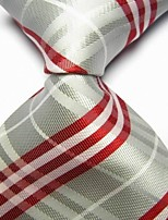 cheap -Men's Polyester Necktie,Work Casual Striped All Seasons Silver