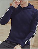 Недорогие -Для мужчин На выход На каждый день Длинный Пуловер Однотонный,Капюшон Длинный рукав Полиэстер Зима Осень Толстая Неэластичная