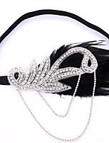 cheap -Holiday The Great Gatsby Headband 1920s Silver Feather Cosplay Accessories Halloween