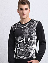 cheap -Men's Petite Others Simple Sweatshirt Print Round Neck Belt Not Included Micro-elastic Polyester Long Sleeves Autumn/Fall