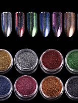 abordables -8pcs Glitter Powder Multi Color Nail Art Design