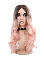 cheap -New Candy Pink Wig with Brown Roots Body Wave Long Wigs Synthetic Hair Ombre Cosplay Party Club Hair Heat Resistant Fiber