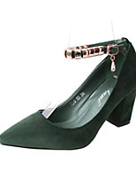 cheap -Women's Shoes PU Spring Comfort Heels Chunky Heel Pointed Toe Closed Toe for Casual Camel Pink Green Gray Black