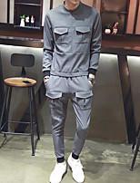 preiswerte -Herren Set Übergrössen Ausgehen Freizeit Solide Rundhalsausschnitt Gürtel nicht inklusive Mikro-elastisch Baumwolle Polyester Nylon