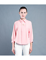 cheap -Women's Party/Cocktail Going out Casual Spring Fall Shirt,Solid Shirt Collar Long Sleeve Polyester Medium