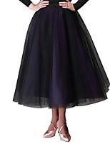 preiswerte -Für den Ballsaal Unten Damen Aufführung Tüll Samt Chiffon Schleife(n) Ärmellos Normal Röcke Taille Accessoire