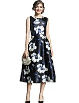 cheap -SHE IN SUN Women's Going out Work Vintage Casual A Line Swing DressFloral Round Neck Maxi Sleeveless Polyester Fall Mid Rise Inelastic Opaque