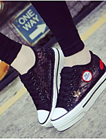 cheap -Women's Shoes Tulle Summer Comfort Sneakers Flat Closed Toe for Casual Black White