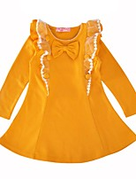 cheap -Girl's Casual/Daily Solid Dress,Cotton Spring Fall Long Sleeves Princess Yellow Wine
