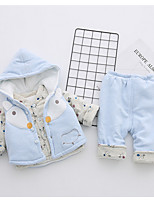 cheap -Girls' Daily Holiday Print Clothing Set,Cotton All Seasons Long Sleeve Casual Blue Green Gray