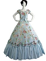 cheap -Rococo Victorian Costume Adults' Party Costume Masquerade LightBlue Vintage Cosplay Cotton Fabric Pure Cotton Short Sleeves Cold Shoulder