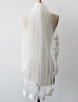 cheap -One-tier Lace Applique Edge Bridal Wedding Wedding Veil Elbow Veils 53 Laces Tulle