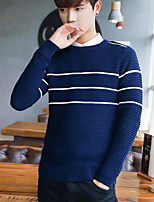 cheap -Men's Casual/Daily Simple Regular Pullover,Striped Round Neck Long Sleeves Japanese Cotton Fall Opaque Micro-elastic