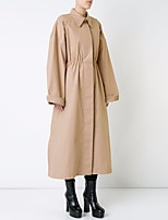 cheap -Women's Going out Simple Winter Trench Coat,Solid V Neck Long Sleeve Long Cotton
