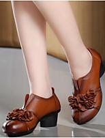abordables -Mujer Zapatos PU Primavera Confort Tacones Tacón Cuadrado Punta cerrada para Casual Negro Amarillo Rojo