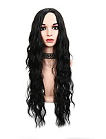 cheap -Women Synthetic Wig Long Loose Wave Wavy Black African American Wig Middle Part Party Wig Celebrity Wig Halloween Wig Cosplay Wig Natural
