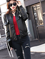 cheap -Women's Daily Casual Winter Fall Leather Jacket,Solid Round Neck Long Sleeve Short PU