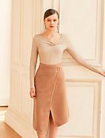 economico -T-shirt Da donna Quotidiano Per uscire Vintage Casual Sensuale Per tutte le stagioni,Tinta unita A V Cotone Maniche lunghe Medio spessore