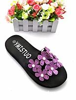 Недорогие -Для женщин Обувь Этиленвинилацетат Весна Лето Удобная обувь Тапочки и Шлепанцы На низком каблуке Открытый мыс Аппликация для Повседневные