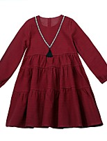 Girl's Going out Solid Dress,Polyester Winter Fall Long Sleeves Simple Wine