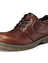 Недорогие -Для мужчин обувь Наппа Leather Весна Осень Удобная обувь Туфли на шнуровке для Повседневные Черный Кофейный