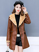cheap -Women's Daily Vintage Winter Fall Leather Jacket,Color Block V Neck Long Sleeve Regular PU Polyester Oversized Fur Trim
