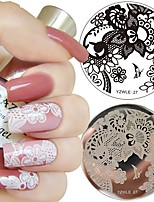 1Pc Nail Art Stamp Template Lace Arabesque Flower Design 5.5cm Round Image Plate