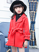 cheap -Girls' Daily Solid Jacket & Coat,Polyester Long Sleeves Cute Khaki Blushing Pink Red