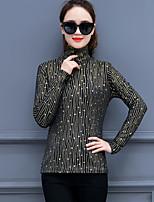 economico -T-shirt Da donna Per uscire Ufficio Boho sofisticato Inverno Autunno,Tinta unita A collo alto Altro Maniche lunghe Spesso