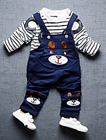 cheap -Boys' Daily Going out Striped Cartoon Clothing Set,Cotton All Seasons Long Sleeve Cute Casual Active Blue