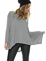 cheap -Women's Daily Going out Cute Casual Street chic Spring Fall T-shirt,Solid Round Neck Long Sleeve Cotton Spandex