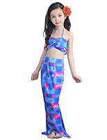 cheap -The Little Mermaid Skirt Swimwear Kid Halloween Festival / Holiday Halloween Costumes Purple Mermaid