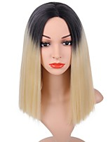 cheap -Women Synthetic Wig Short Straight Black/Blonde Dark Roots Bob Haircut Natural Wigs Costume Wig