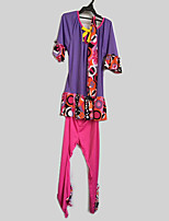 cheap -Outfits Hippie Costume Kid Party Costume Purple Vintage Cosplay Poly/Cotton Long Sleeves Bell Briefs