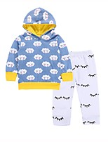 cheap -Baby Boys' Daily Sports Print Simple Clothing Set,Cotton Spring Fall Casual Active Long Sleeve Light Blue