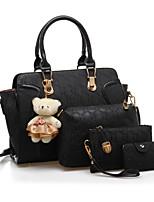 cheap -Women Bags PU Bag Set 4 Pieces Purse Set Pattern / Print for Wedding Event/Party All Season Wine Fuchsia Purple Black White