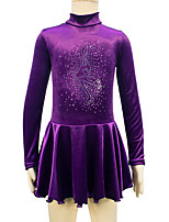 cheap -Figure Skating Dress Women's Girls' Ice Skating Dress Purple Spandex Inelastic Performance Practise Skating Wear Solid Long Sleeves Ice